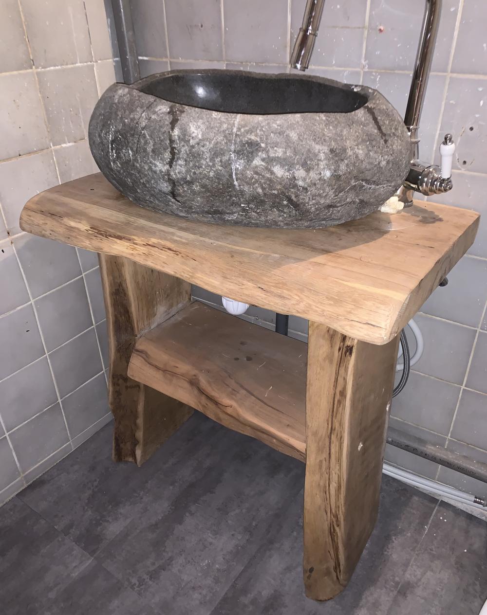 Petit meuble de SDB en chêne + étagère – 750.00€